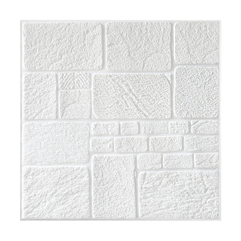 Kit 10 Painel Adesivo 3D Revestimento Papel Parede DIY Pedra Branco