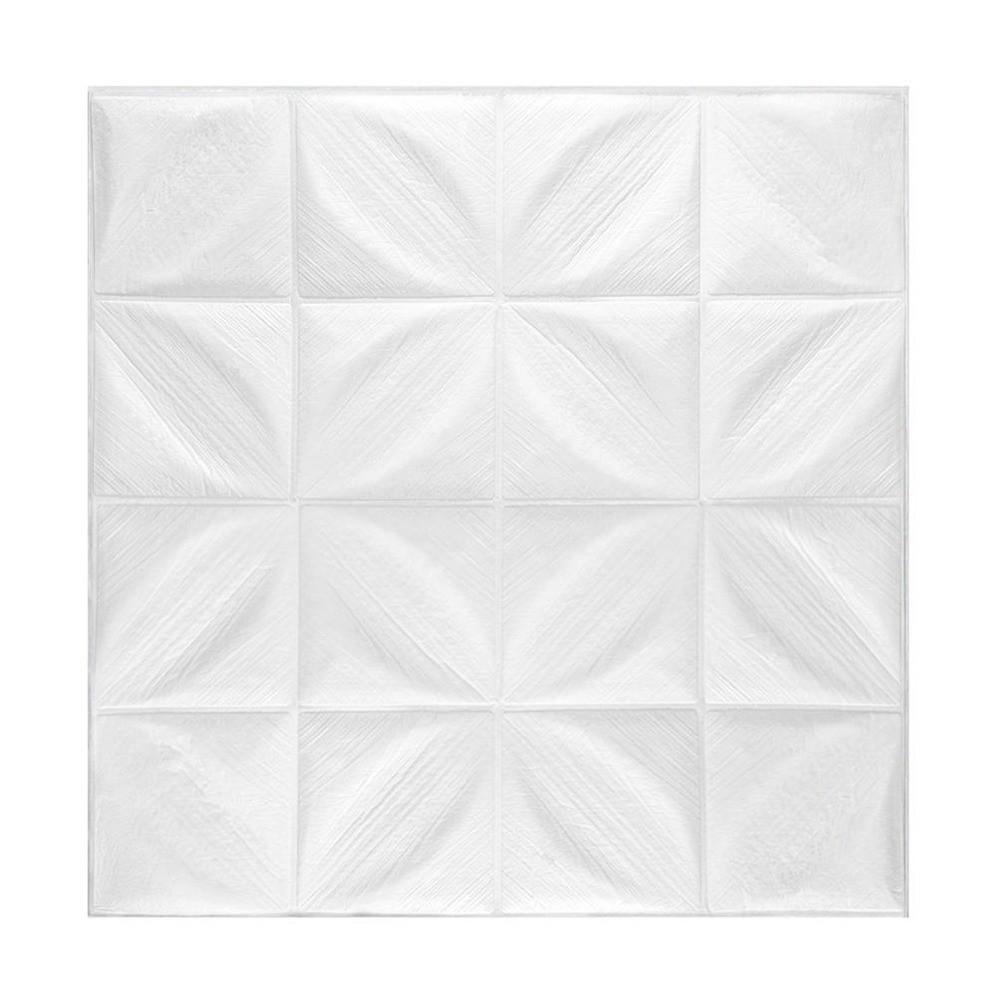 Kit 10 Painel Adesivo 3D Revestimento Papel Parede Pétalas Branco