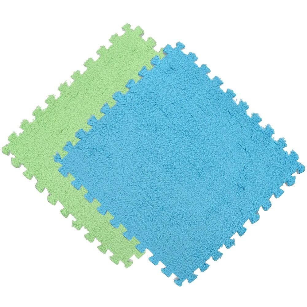 Kit 10 Tapete EVA Pelúcia Piso Macio Criança Bebe 30x30cm Azul e Verde