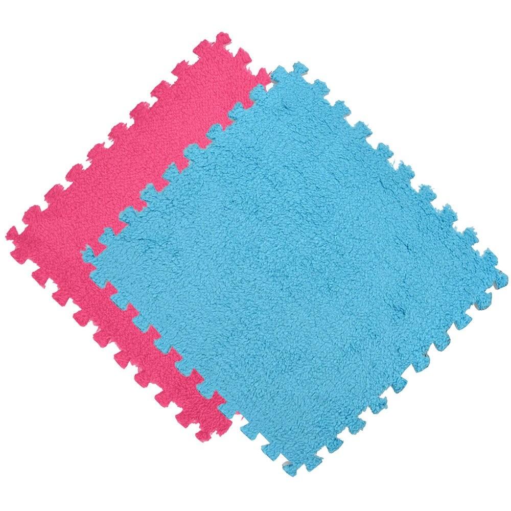Kit 10 Tapete EVA Pelúcia Piso Macio Criança Bebe 30x30cm Azul e Rosa