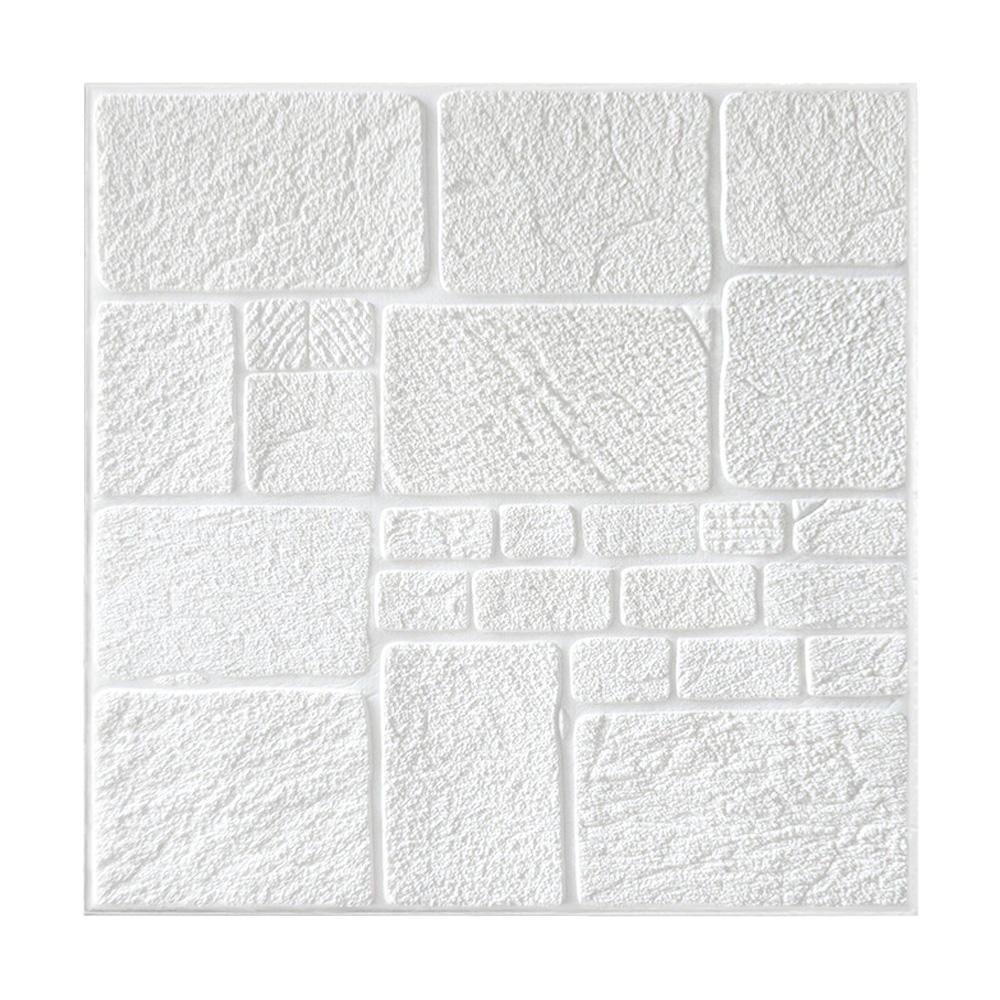 Kit 15 Painel Adesivo 3D Revestimento Papel Parede DIY Pedra Branco