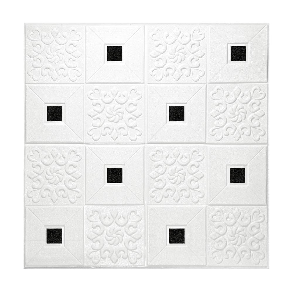 Kit 15 Painel Adesivo 3D Revestimento Parede Branco Mandala