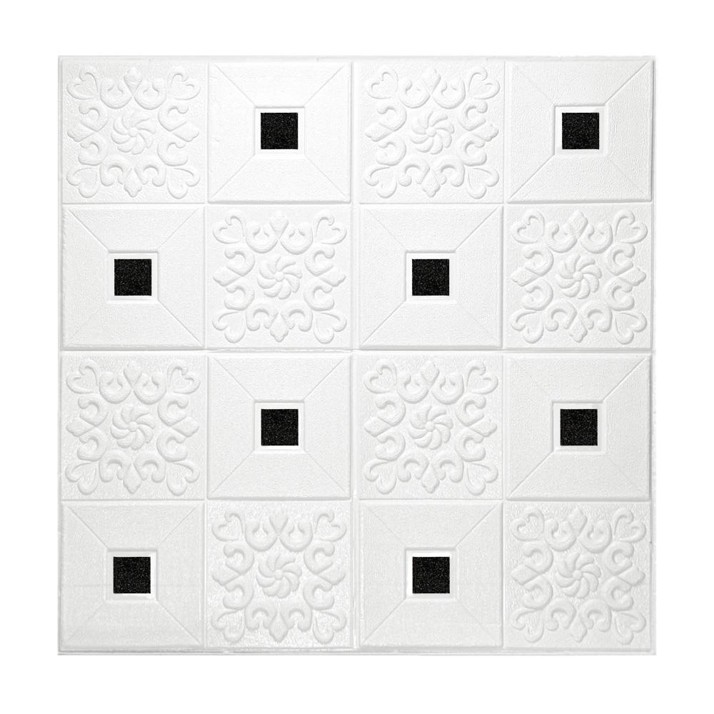 Kit 5 Painel Adesivo 3D Revestimento Papel Parede Branco Mandala