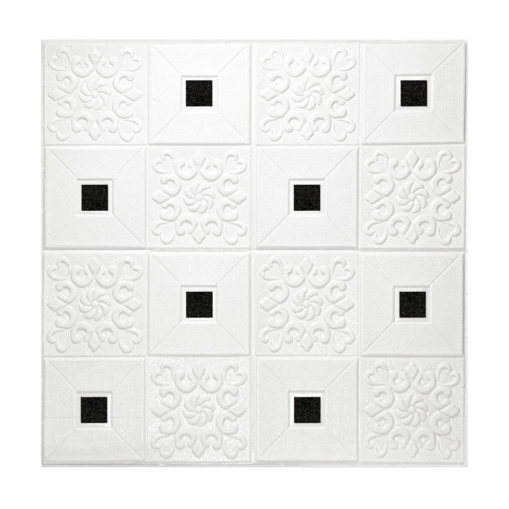 Kit 5 Painel Adesivo 3D Revestimento Parede Branco Mandala