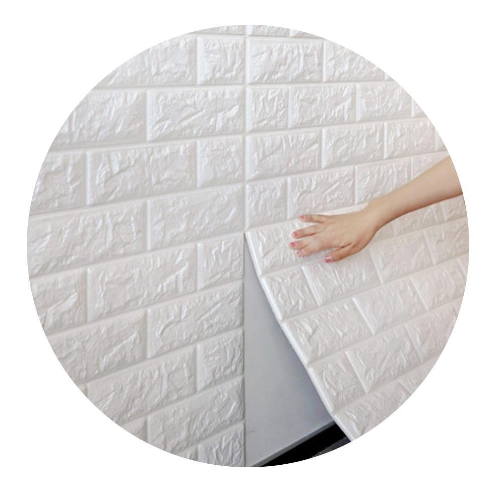 Kit 6 Placas 3D Revestimento Tijolo Branco Adesivo 70cm