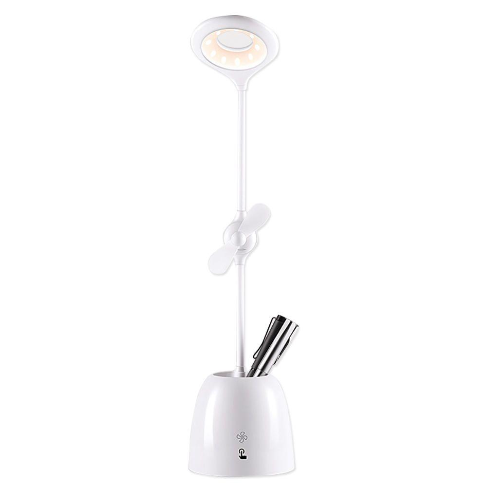 Luminária LED Mesa Escritório Estudo Ventilador Porta Caneta