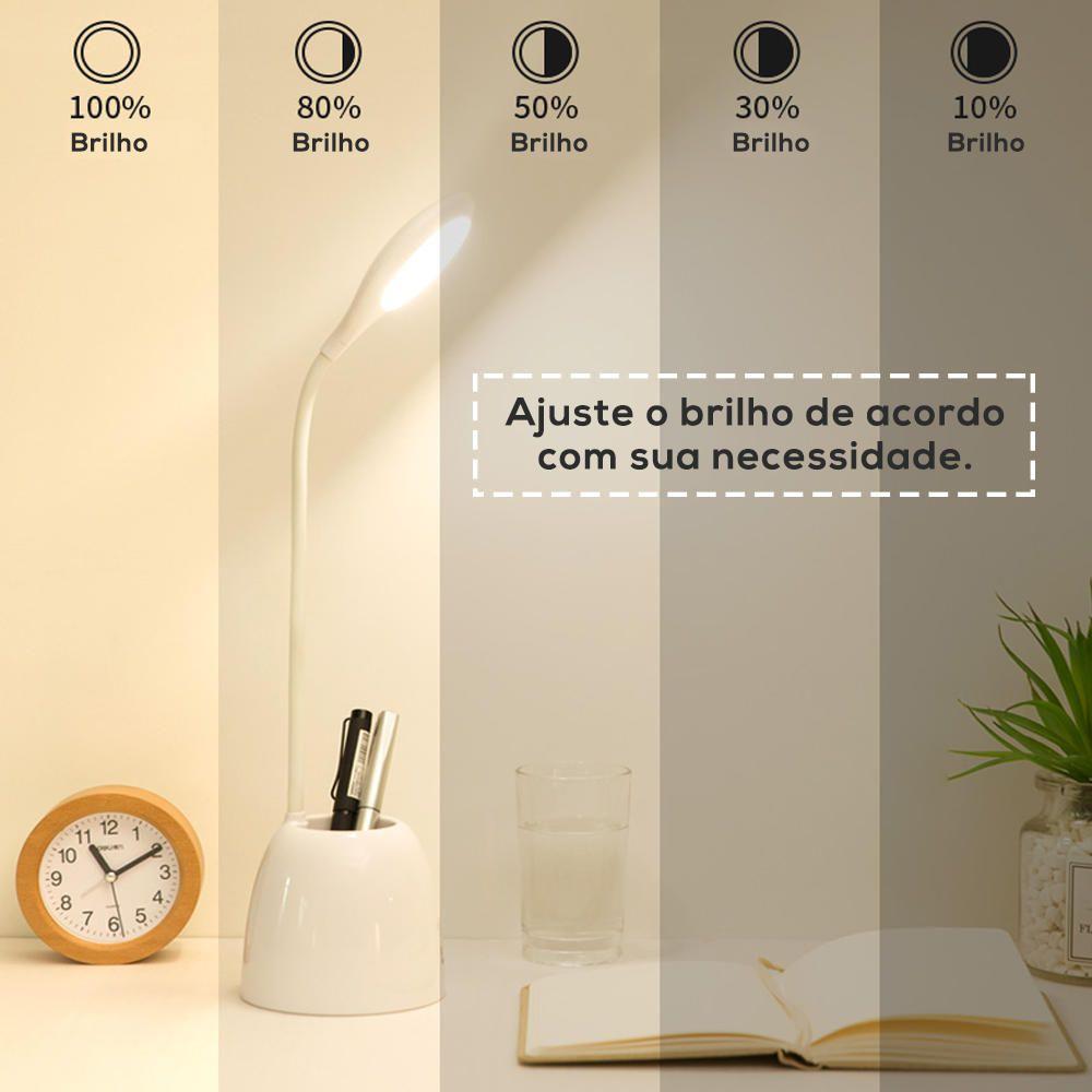 Luminária LED Mesa Escritório Estudo Ventilador Porta Caneta  - Magma Br