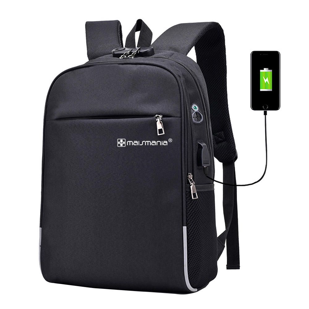 Mochila p Notebook Mais Mania Preta Security Tech