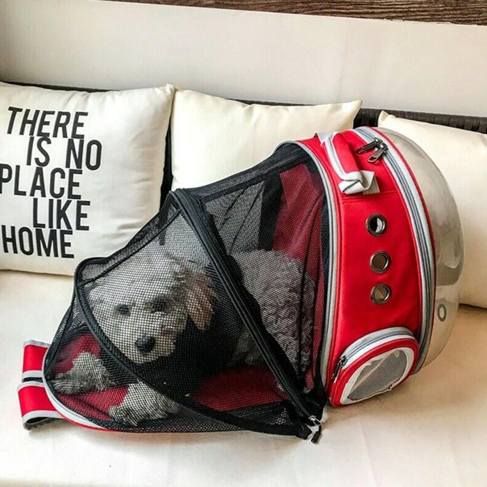 Mochila Pet Expansiva Design Astronauta Cães Gatos Vermelho  - Magma Br