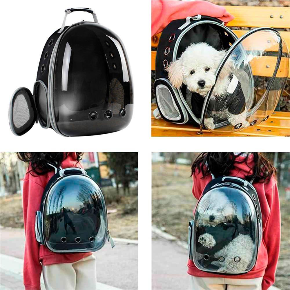 Mochila Pet Panorâmico Design Astronauta Cães Gatos Preto  - Magma Br