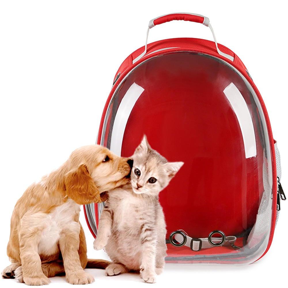 Mochila Pet Panorâmico Design Astronauta Cães Gatos Vermelho