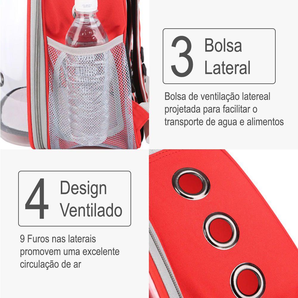 Mochila Pet Panorâmico Design Astronauta Cães Gatos Vermelho  - Magma Br