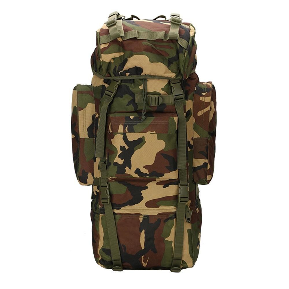 Mochila Tática Camping Militar MOLLE Trilha 65L Camuflada