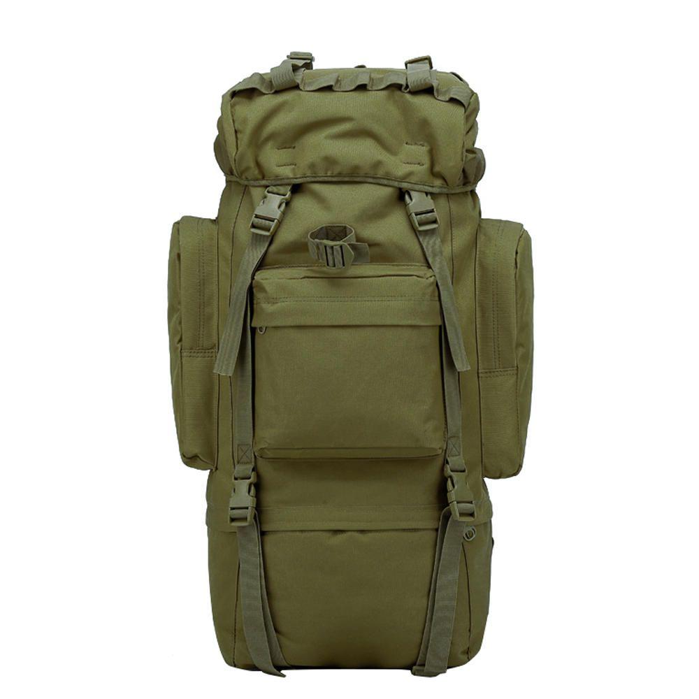 Mochila Tática Camping Militar MOLLE Trilha 65L Verde Musgo