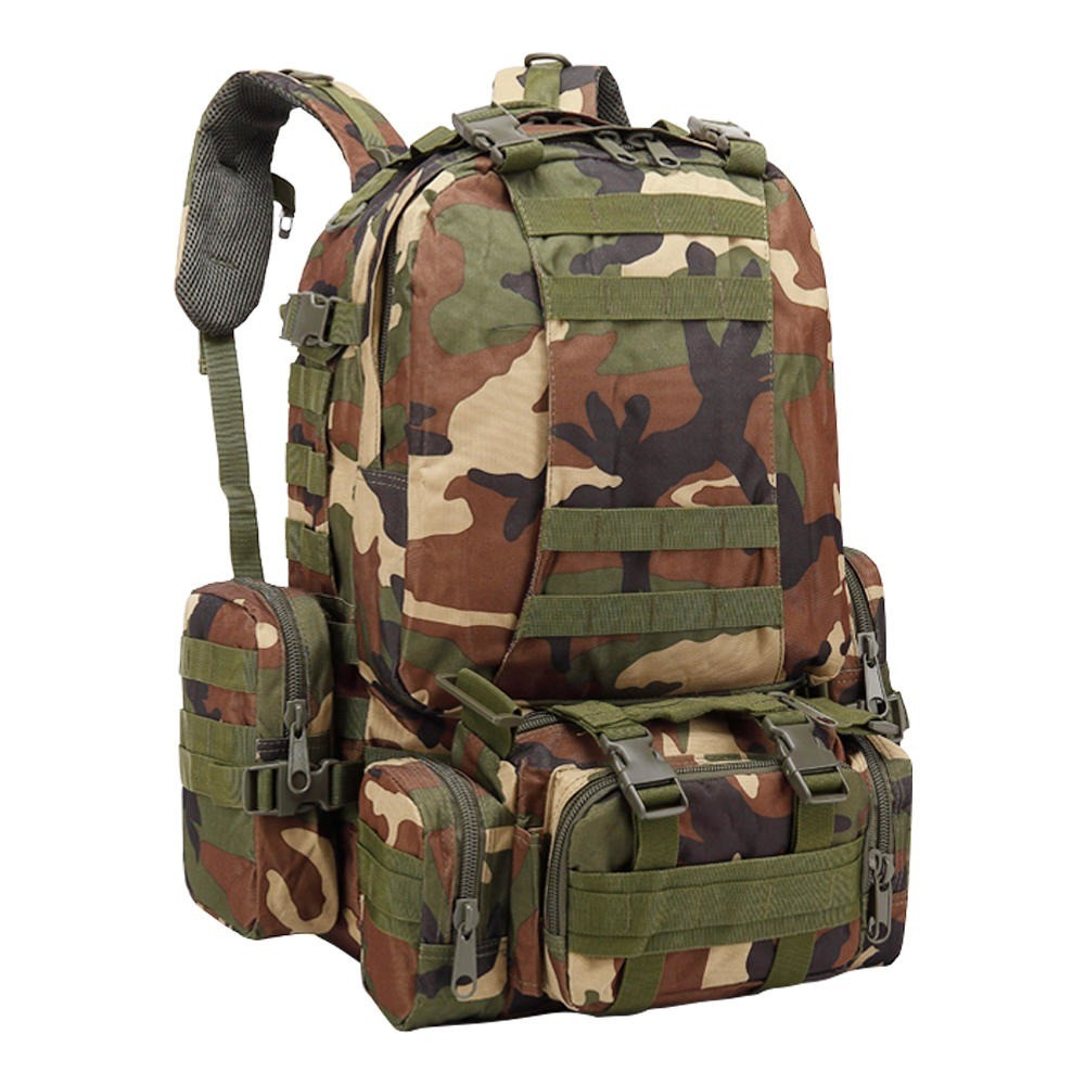 Mochila Tática Warrior Militar MOLLE Trilha 55L Camuflada