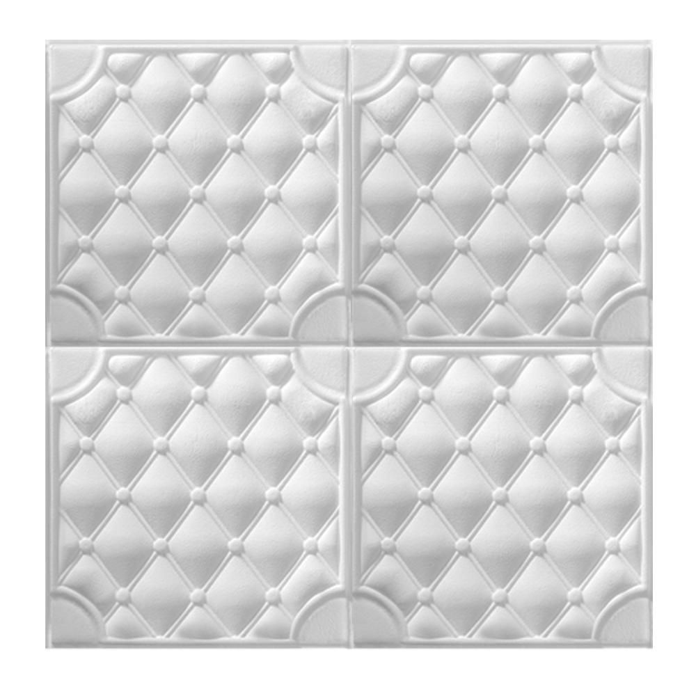 Painel Adesivo 3D Revestimento Branco Atual DIY Papel Parede