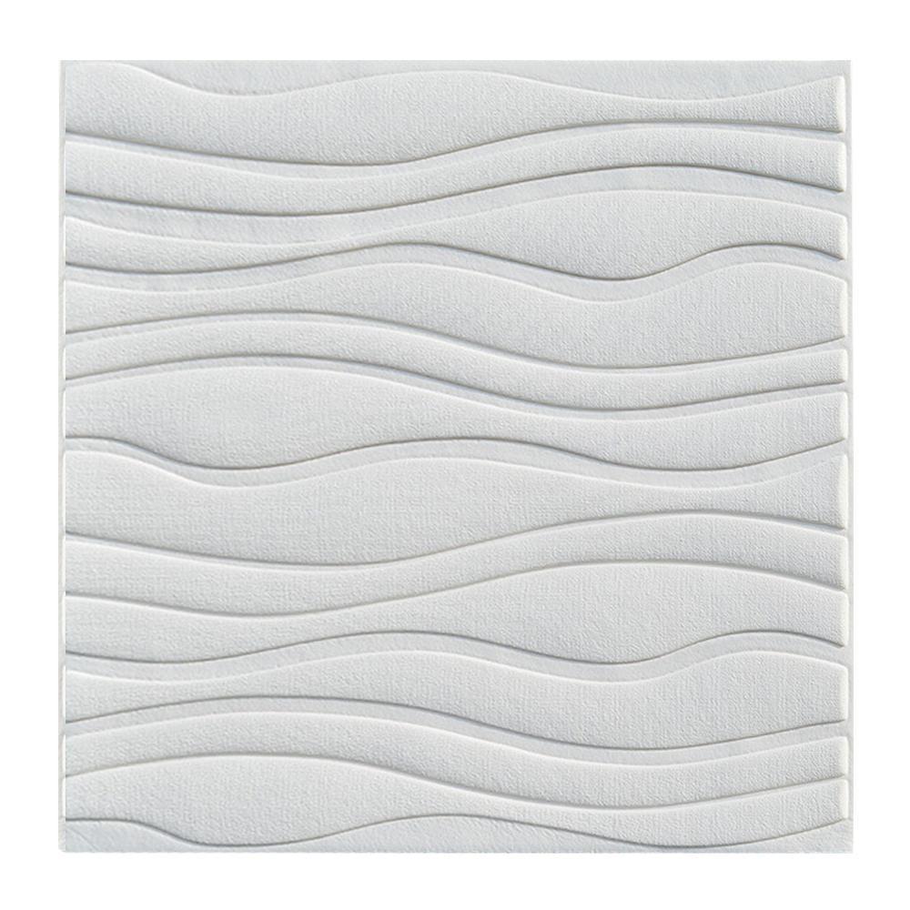 Painel Adesivo 3D Revestimento Ondas Branco DIY Papel Parede