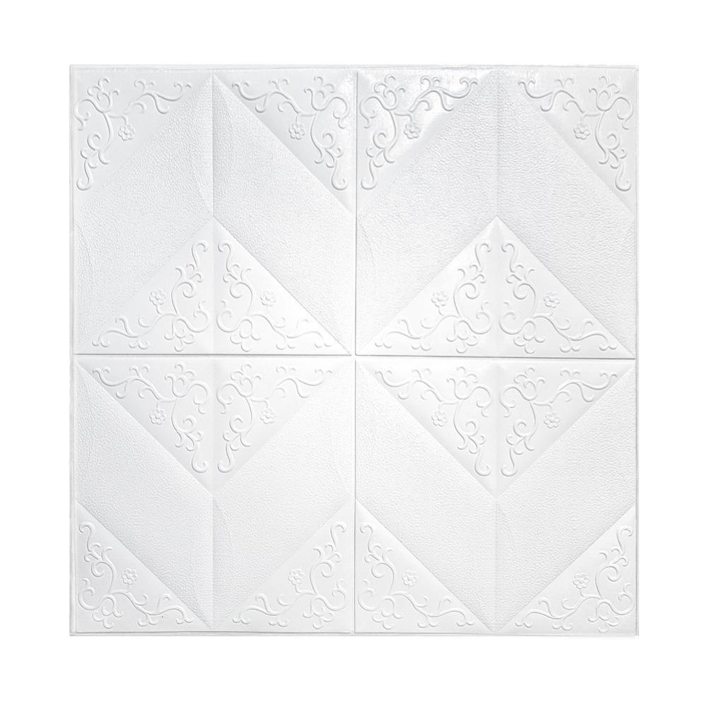 Painel Adesivo 3D Revestimento Papel de Parede Flores Branco