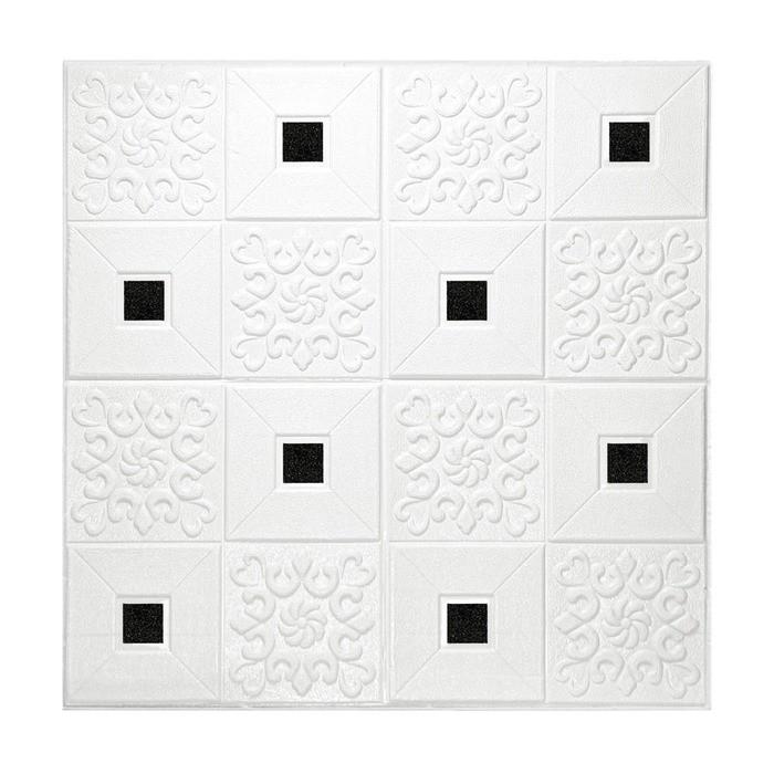 Painel Adesivo 3D Revestimento Papel Parede Branco Mandala