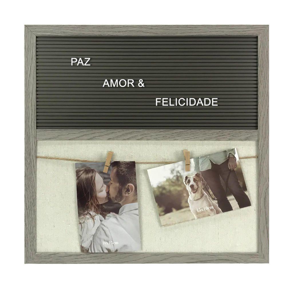Painel Porta Retrato p Fotos com Letreiro Tam. 40x40 cm