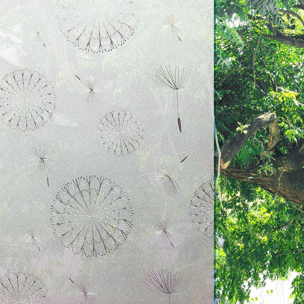 Película Adesivo Eletrostática 3D janela Vidro Jateado Flor