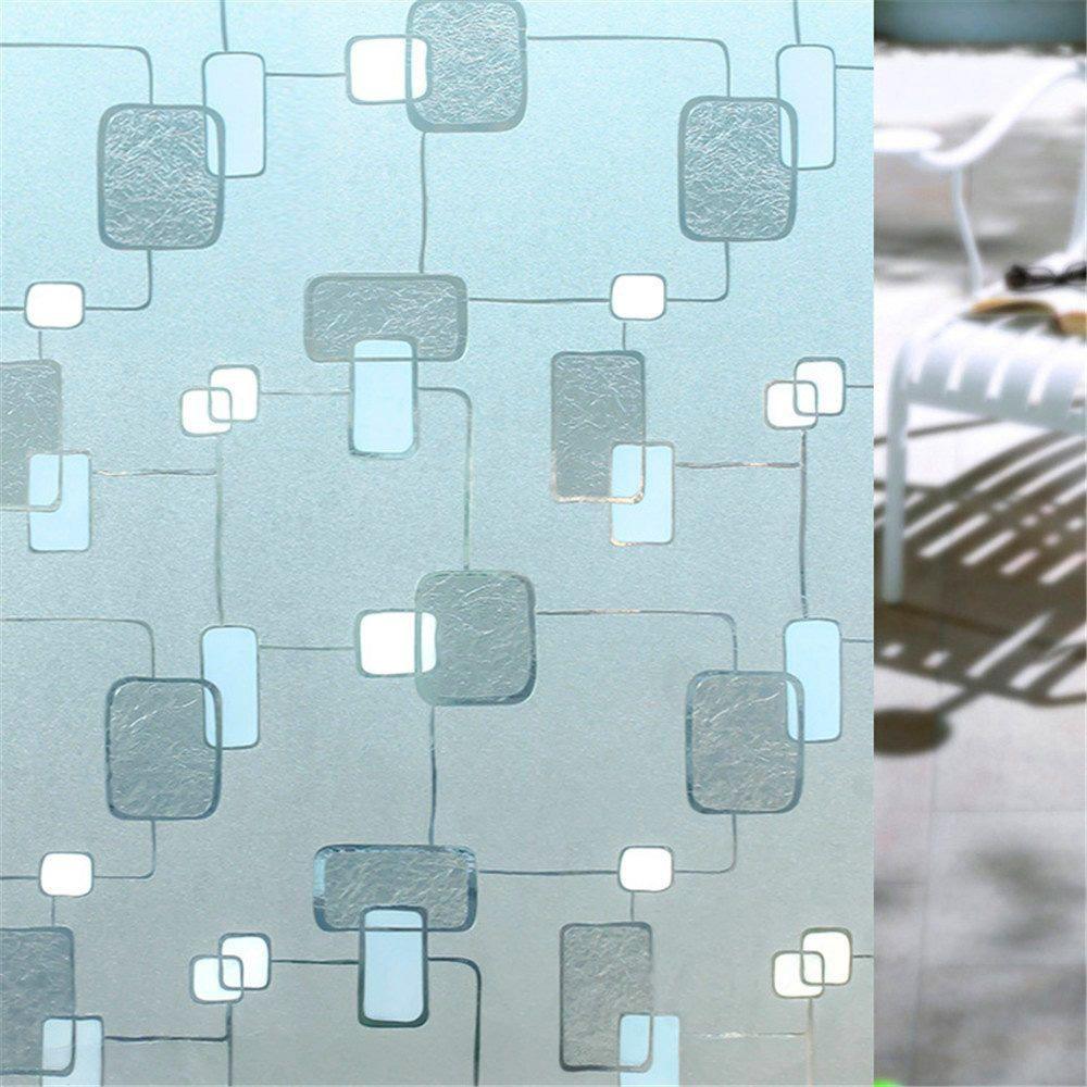 Película Adesivo Eletrostática Estática 3D Vidro Quadrados