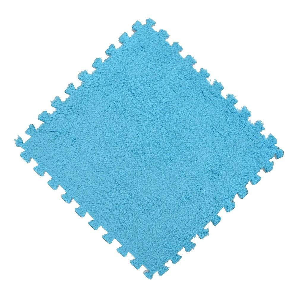 Tatame EVA Pelúcia Macia Piso Quebra Cabeça 30x30cm Azul