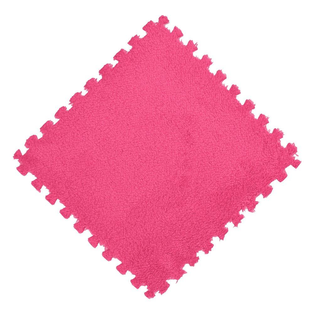 Tatame EVA Pelúcia Macia Piso Quebra Cabeça 30x30cm Rosa