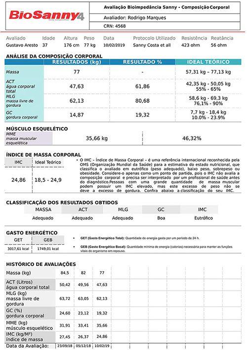 Aparelho de Bioimpedância Tetrapolar Profissional - Sanny BIA1010
