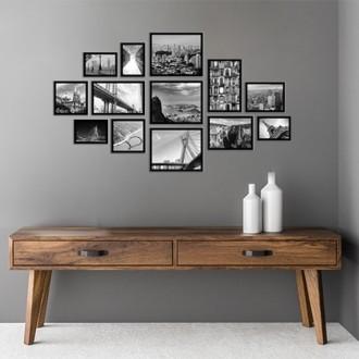 13 molduras com revelação fotográfica (125cm x 70cm)