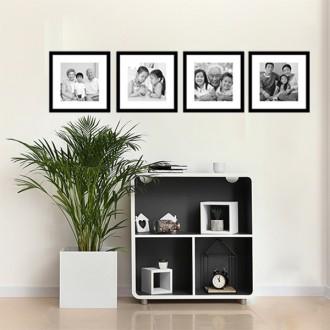4 Molduras 45x45 com Passe-partout e Revelação Fotográfica (210cm x 48cm)