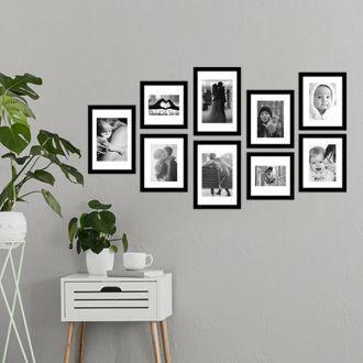 9 Molduras COM  Passe-partout + Revelação Fotográfica (125cm X 70cm)