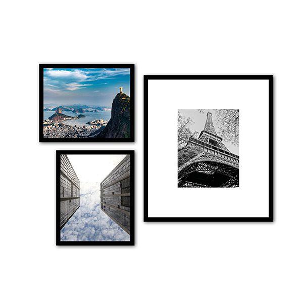 3 Molduras COM  passepartout e revelação fotográfica (70cm X 60cm)