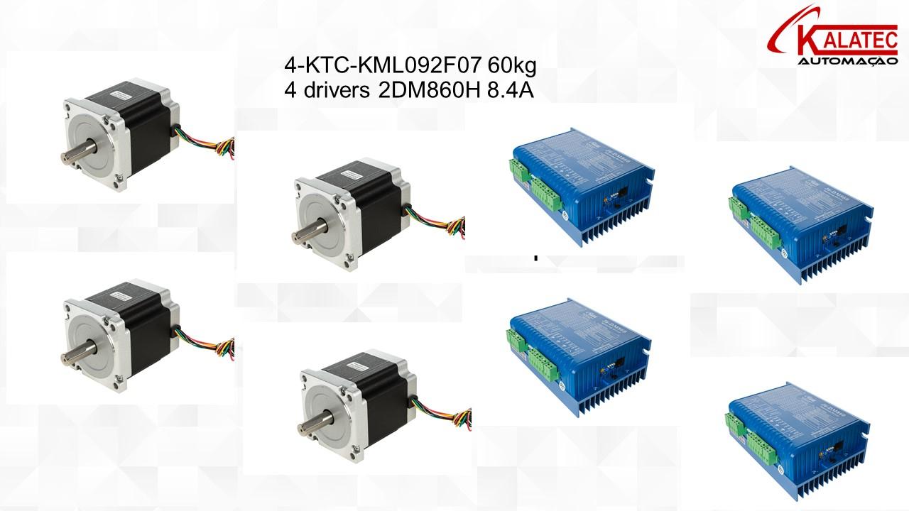 Kit 4 Drivers e 04 Motores 60Kg.cm
