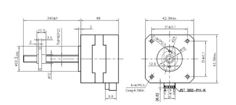 KTC42HS48-1004-YAL8 - Motor de passo com fuso Acme - Torque de 5.0Kgcm