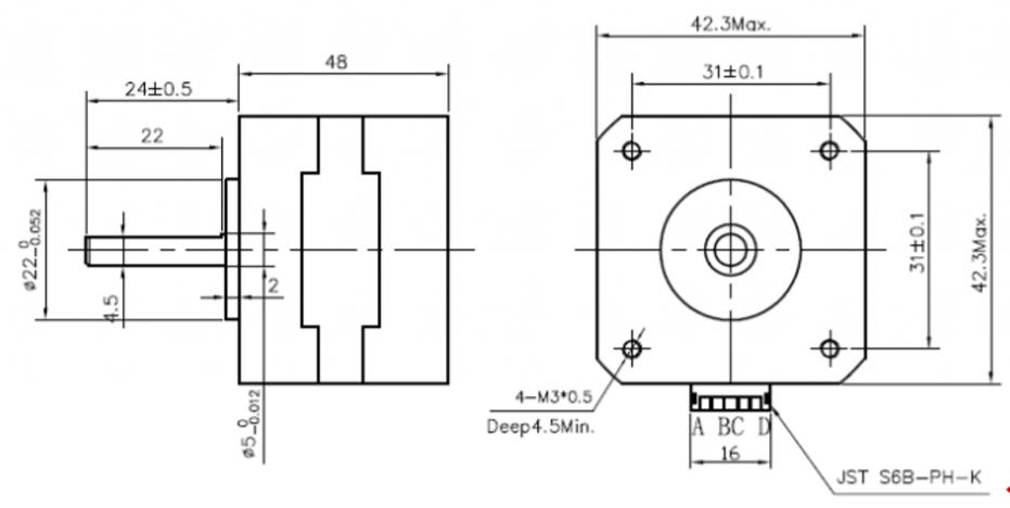 KTC-42HS48-1684-08AF - Motor de passo - Torque de 5.0Kgcm