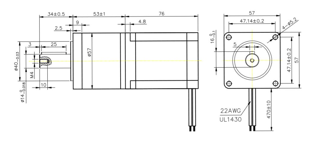 NEMA 23 + Redutor 10:1 –Corrente Série 1,4A e Paralelo 2,8A – Eixo Red 14mm –  Saída Red Holding T. 18Nm