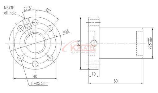 SFUR 1605-C7-D - CASTANHA PARA FUSO LAMINADO DIAMETRO 16mm PASSO 05mm
