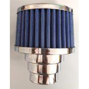 FILTRO cromado c/ elemento azul fusca 1300/1500/1600 DUPLO FLUXO