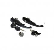 KIT maçanetas PRETA PORTAS e MOTOR fusca + cilindro ignição 78/86 93/96 ITAMAR chave unificada