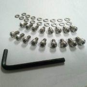 Kit Parafuso 17 parafusos + arruelas INOX c/ chave ALLEN p/ lataria do motor FUSCA