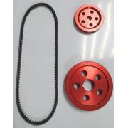 Kit polias alumínio vermelha MOTOR 1300/1500/1600 STANDER + correia
