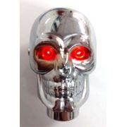 Manopla caveira cromada c/ LED acende os olhos