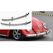 Par de lâminas cromadas c/ garras cromadas PARA-CHOQUE FUSCA até 1970 modelo EURO LOOK CAL LOOK
