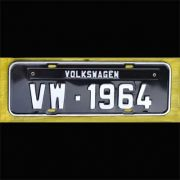 Placa PRETA decorativa Volkswagen VW - 1964