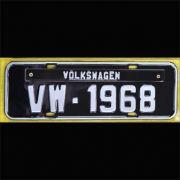 Placa PRETA decorativa Volkswagen VW - 1968