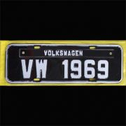 Placa PRETA decorativa Volkswagen VW - 1969