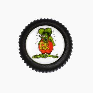 Botão emborrachado c/ emblema RAT p/ painel do FUSCA   - SSR Peças & Acessórios ltda ME.