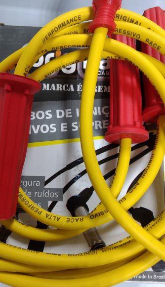 Cabo de velas AMARELO p/ FUSCA 83/96 8.0mm supressivos 100% silicone   - SSR Peças & Acessórios ltda ME.