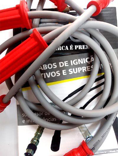 Cabo de velas CINZA p/ FUSCA até 83 8.0mm supressivos 100% silicone  - SSR Peças & Acessórios ltda ME.